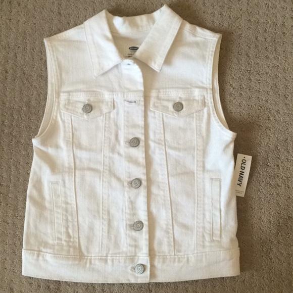 bff64140886c97 Old Navy Girls White Denim Vest